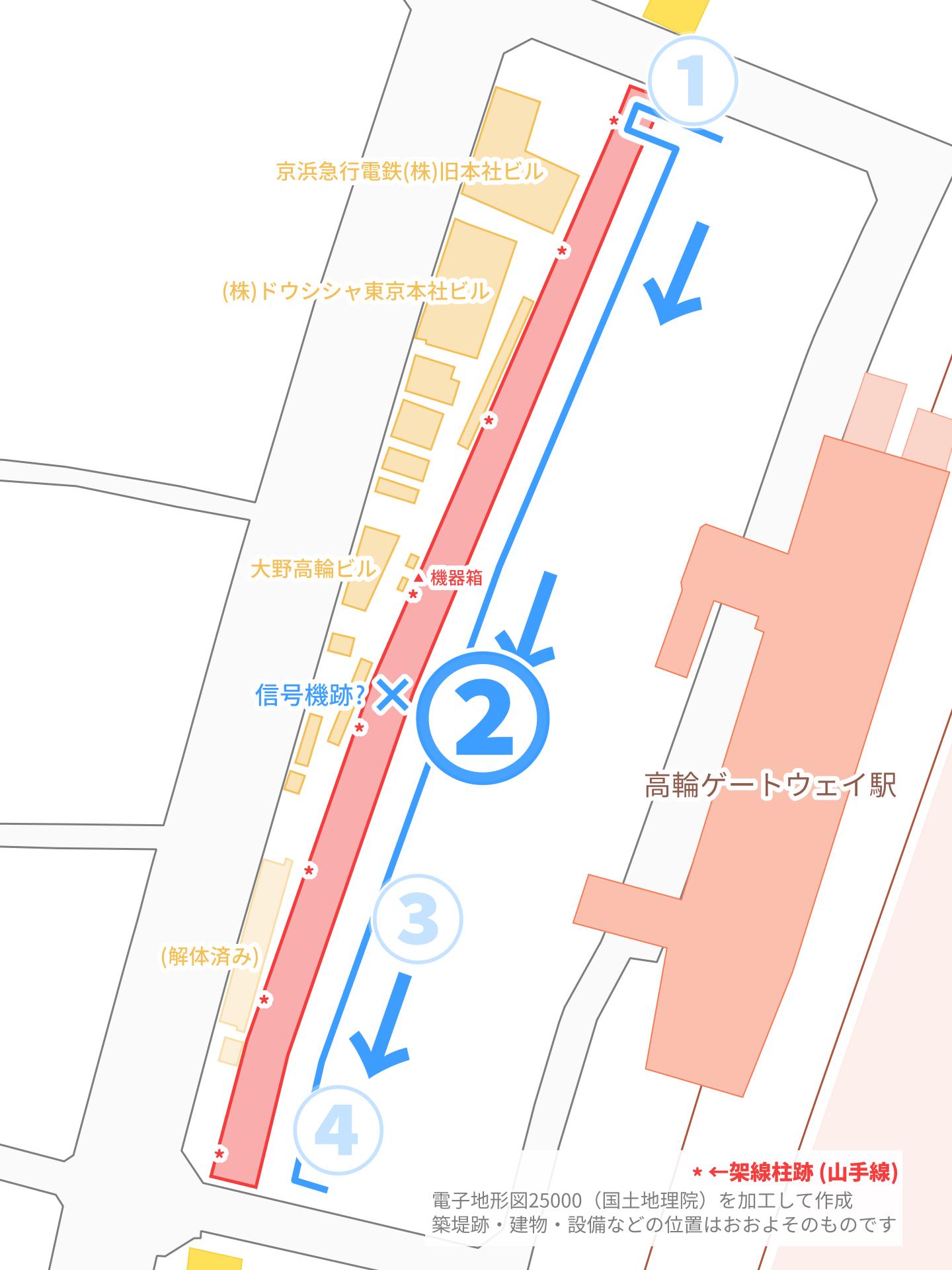 見学エリア付近の拡大地図