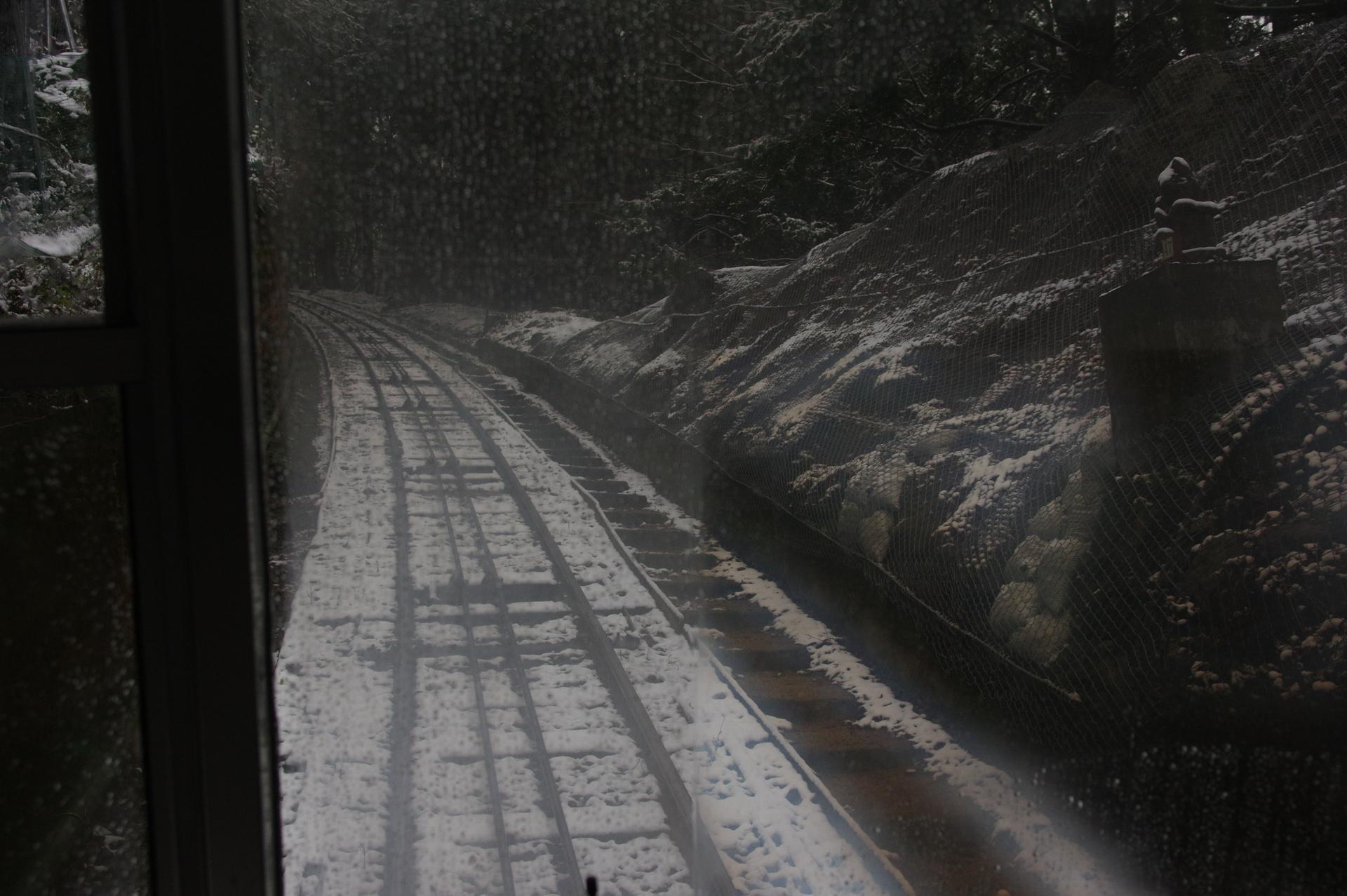 機外停止した駅間の線路