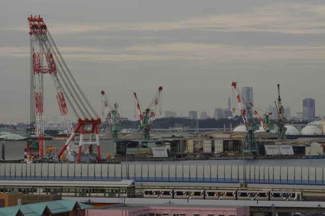 富岡総合公園からの景色とシーサイドライン