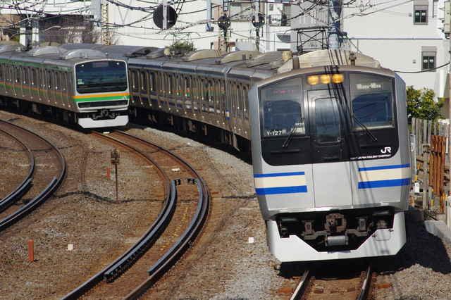 E217系Y-127編成・E231系の並び