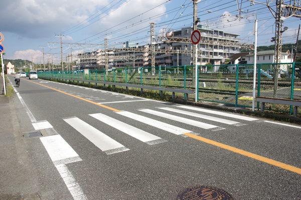 踏切前の横断歩道
