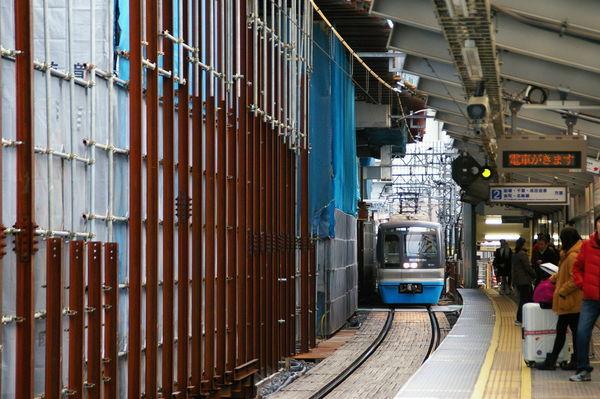 立体交差化工事中の京成曳舟駅(2014年12月当時)