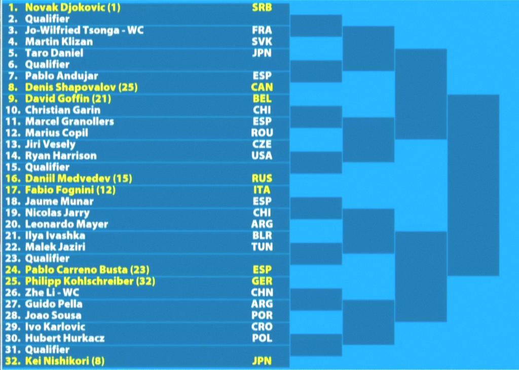 全豪オープンテニス2019男子ドロー1