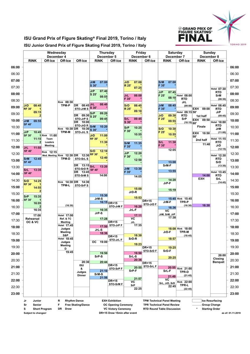 フィギュアスケートグランプリファイナル2019タイムスケジュール(GPファイナル)