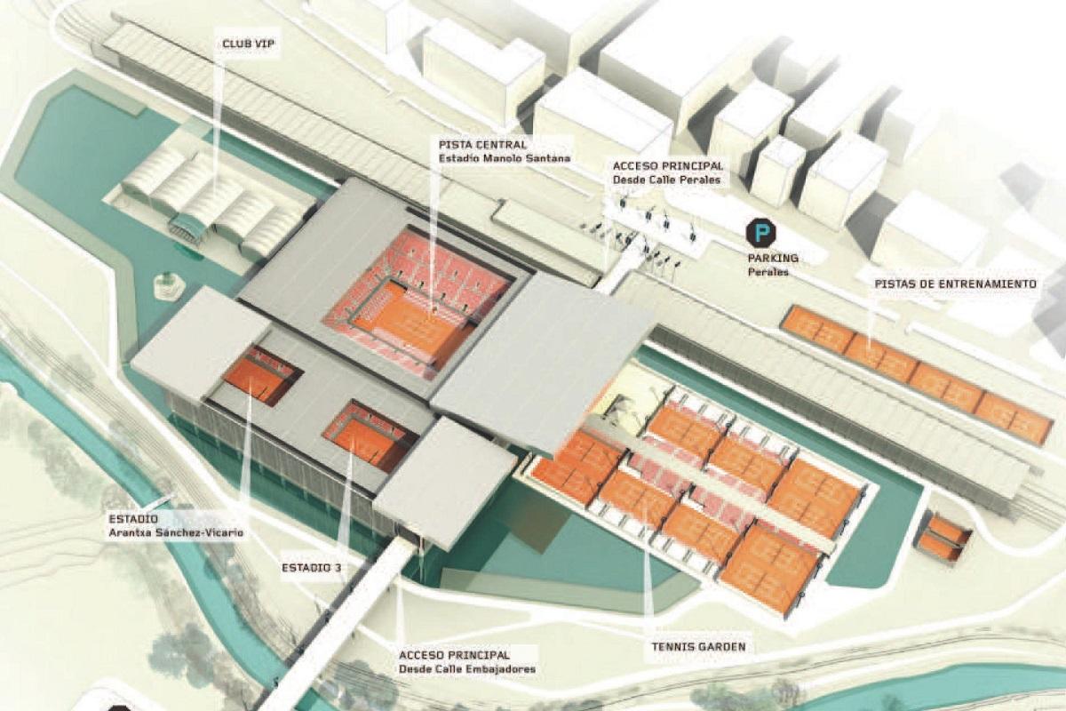 マドリードオープン試合会場のラ・カハ・マヒカ マンサナレス パーク テニスセンター画像