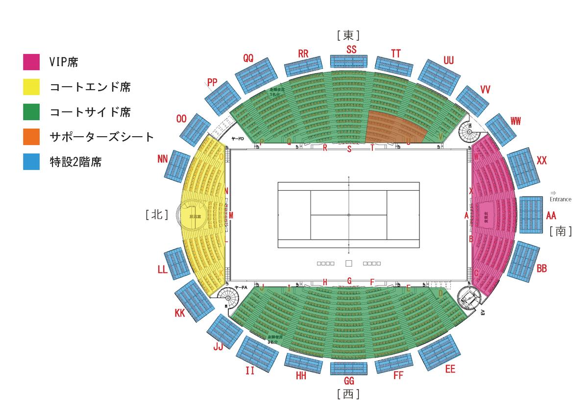 デビスカップ 2020 ファイナル予選「 日本vsエクアドル 」の座席表