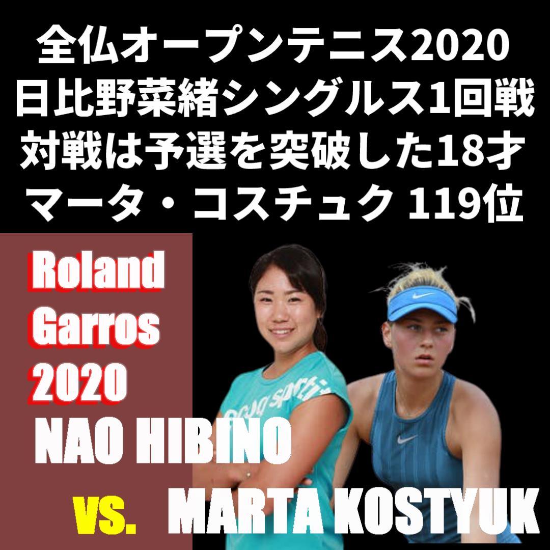 日比野菜緒 全仏オープンテニス2020女子シングルス1回戦