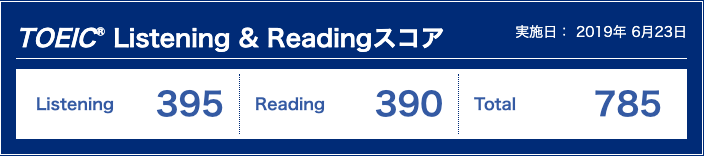 Listening: 395点, Reading: 390点, Total: 785点