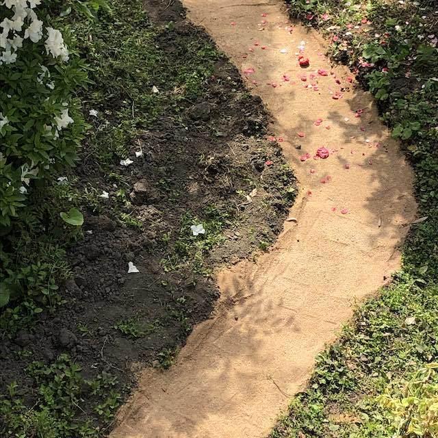 固まる土で小径を作りました。