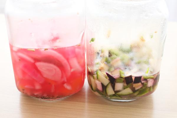 夏ピクルス2種 玉葱人参茗荷レモン 胡瓜ピーマン茄子