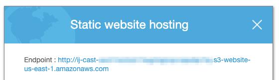 Static website hostingのエンドポイント指定
