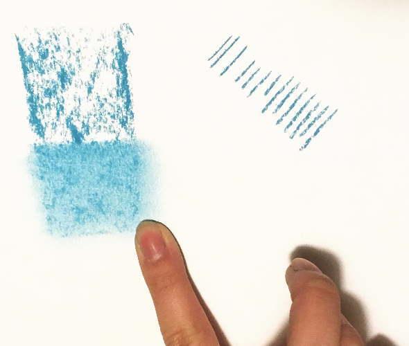 ソフトパステルを塗って指でぼやかしたり