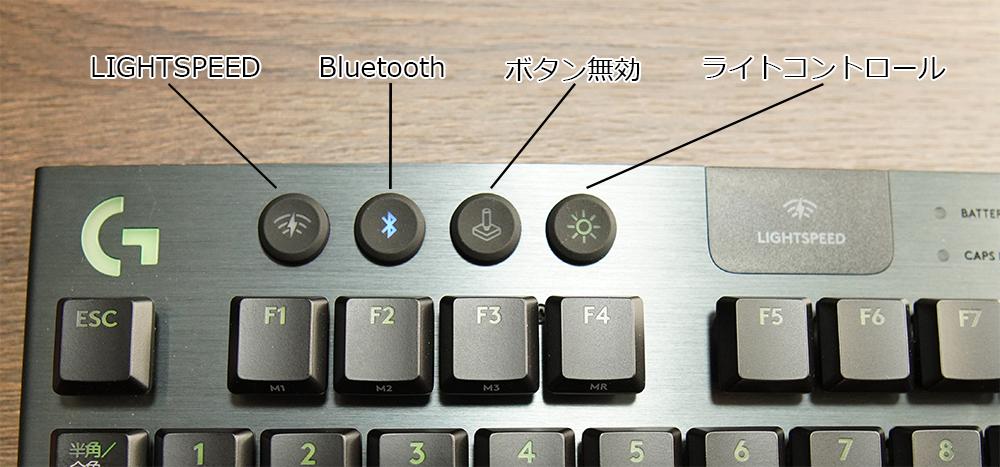 キーボード左側のキースイッチ