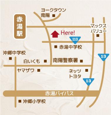 南陽市三間通3-2ヘアサロンw.a地図