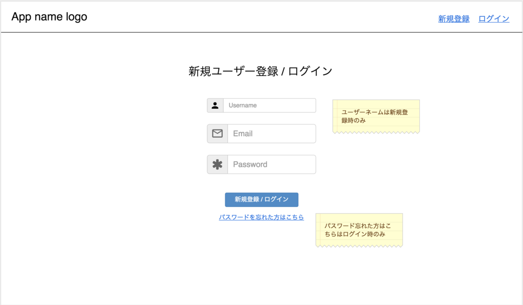 新規登録、ログイン画面