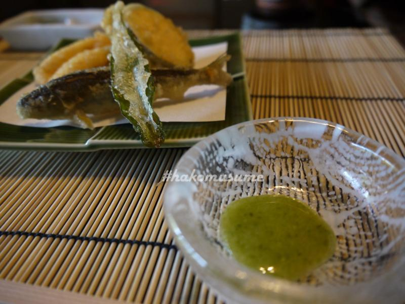天ぷら-圓堂-鮎-たで-穴子-ズッキーニ
