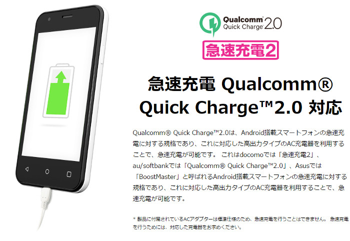 急速充電 Quick Charge 2.0対応