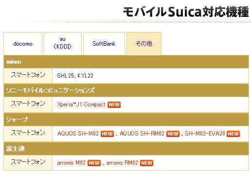 モバイルSuica対応機種