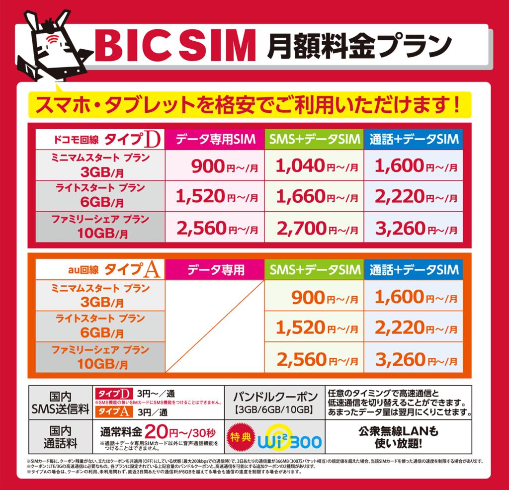 BIC SIM 料金プラン