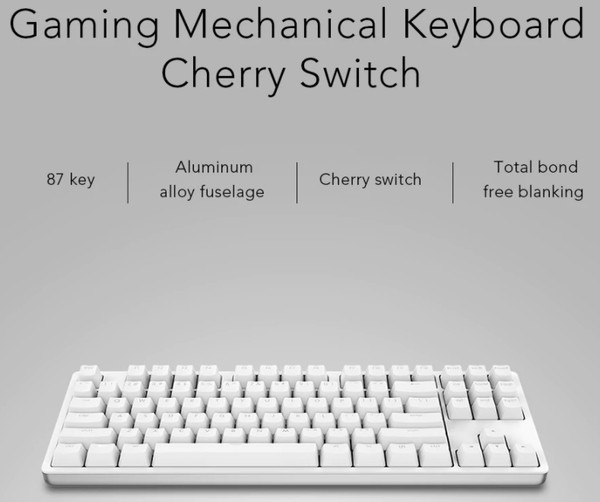 Original Xiaomi Yuemi MK01B ゲーミングメカニカルキーボード (Cherry Switch - 赤軸スイッチ [カラー : ホワイト])