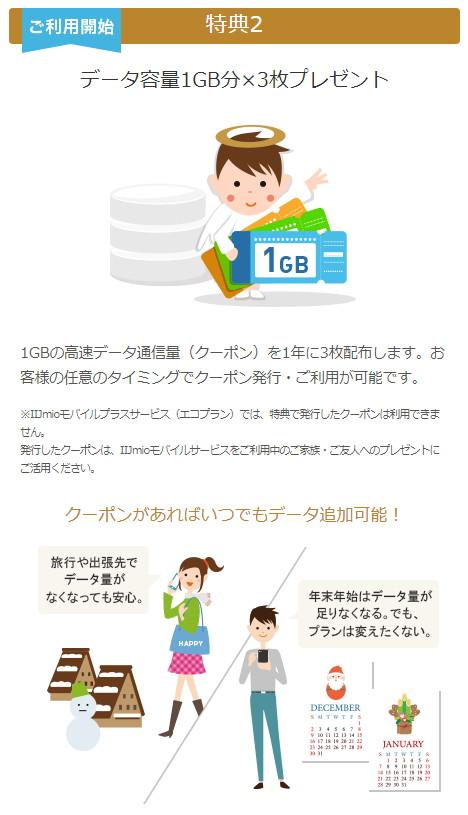 データ容量 1GB分 x 3枚プレゼント