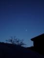 [空][月][冬][天文]細い月と金星