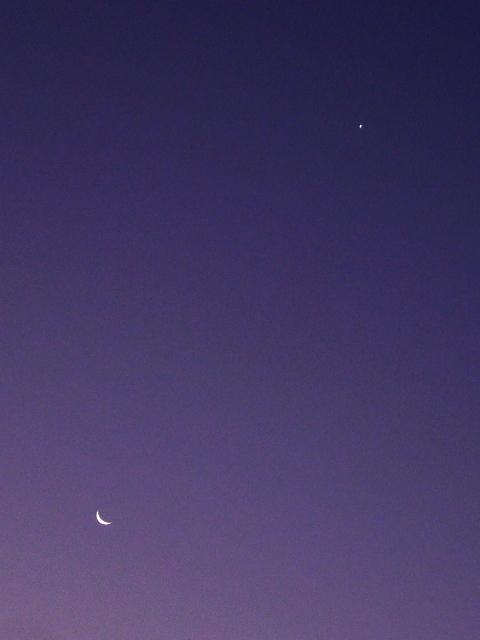 夜明けの細い月と金星