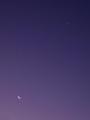 [宇宙][天文][空][月]夜明けの細い月と金星