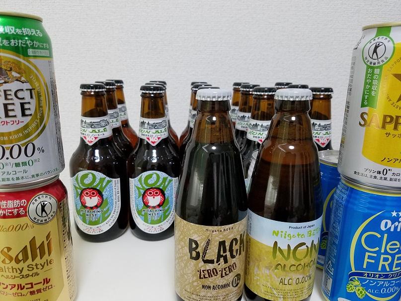 記事制作のために集めたノンアルコールビールの山