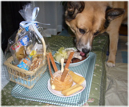 プレゼントと誕生日のケーキを前にしながらご馳走を食べているハルの写真