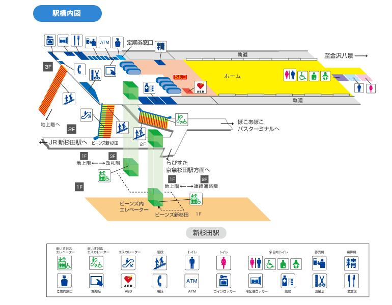 新杉田駅構内図(シーサイドラインホームページより)