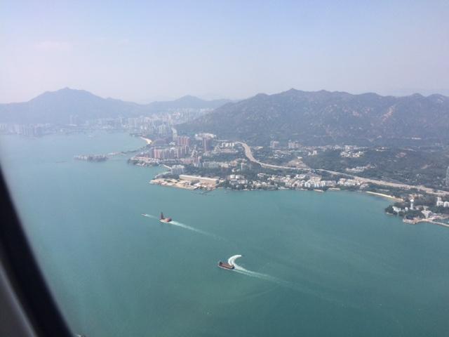 飛行機から香港の景色