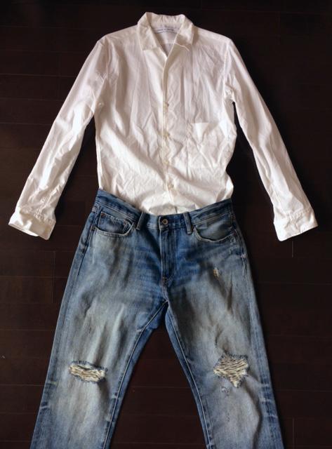 ユニクロ ルメールの白シャツとダメージジーンズ