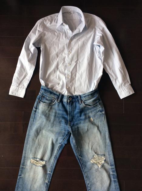 ユニクロユーのブロードシャツとダメージジーンズ