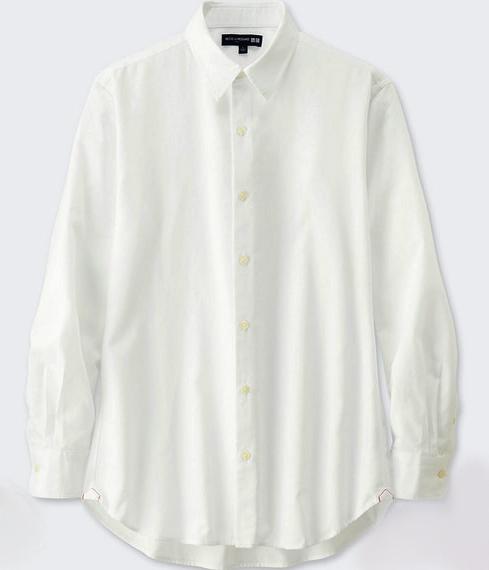 イネスのコットンツイル白シャツ