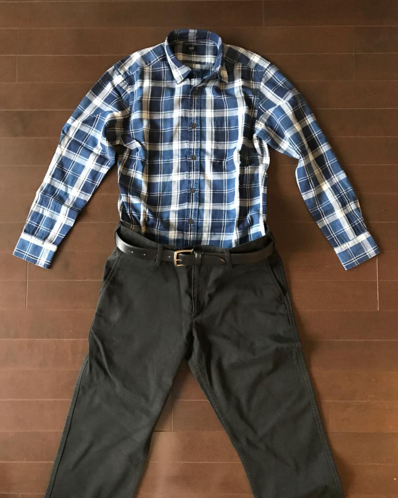 ユニクロのネルシャツ コンサバ系コーデ1