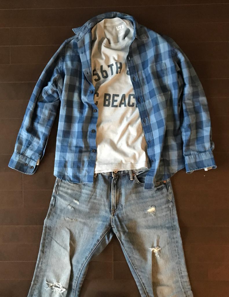 ユニクロのネルシャツ グランジ系コーデ1