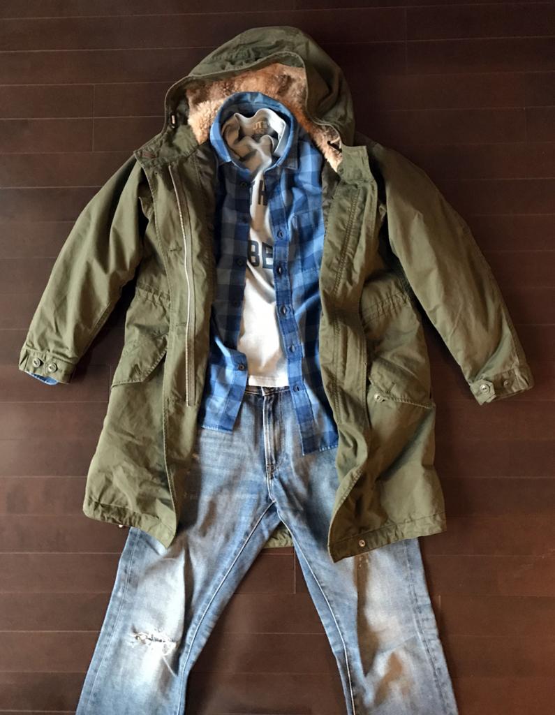 ユニクロのネルシャツ グランジ系コーデ2