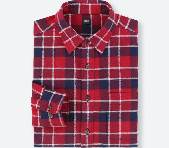 ユニクロ|フランネルチェックシャツ 赤
