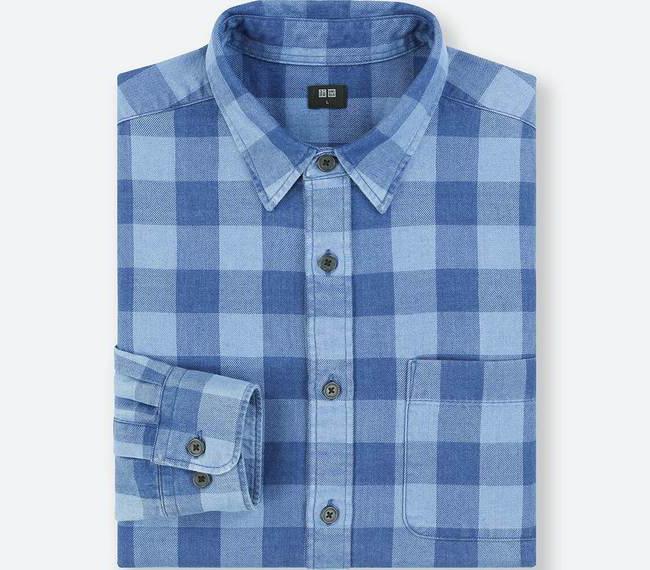 フランネルチェックシャツ インディゴ2