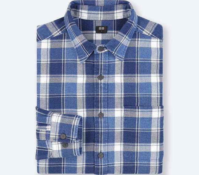 フランネルチェックシャツ インディゴ