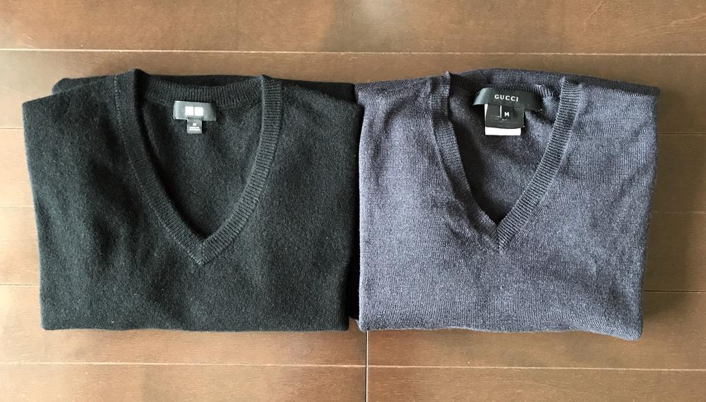 ユニクロとグッチのカシミアセーターの比較