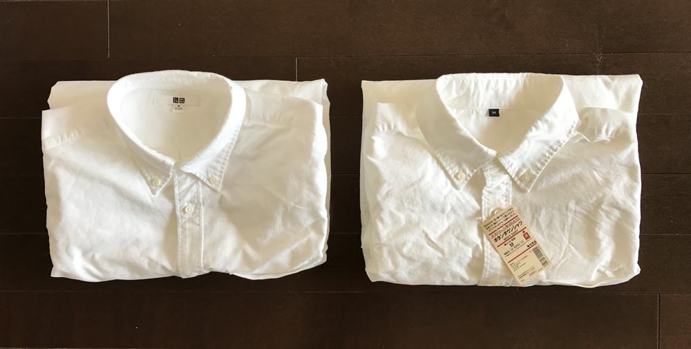 ユニクロと無印良品のオックスフォードボタンダウンシャツ・白