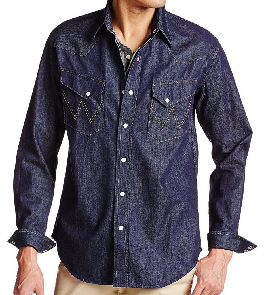 ラングラーのデニムウエスタンシャツ