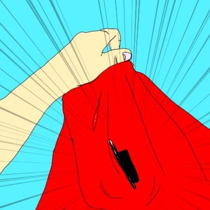 洗濯物から携帯