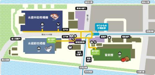 豊洲市場のガイドマップ
