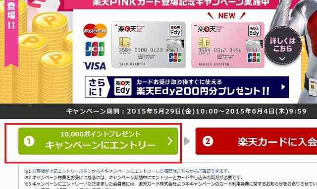 楽天カード10000ポイント還元