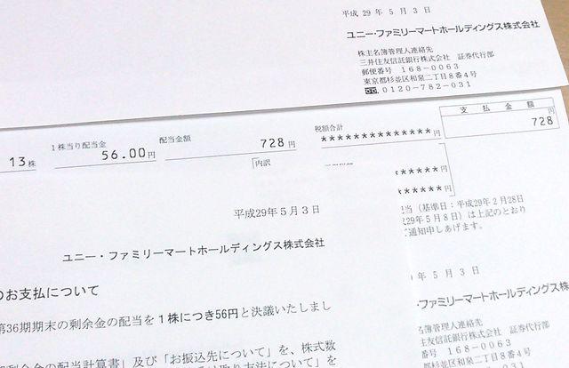 ユニー・ファミリーマートホールディングス株式会社の配当金