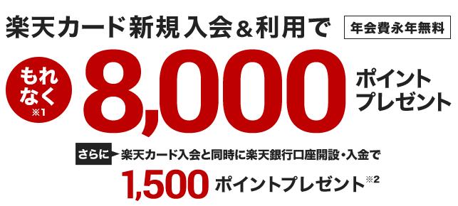 楽天カード8000ポイント