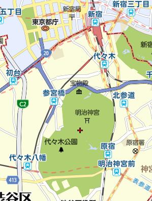 明治神宮への地図